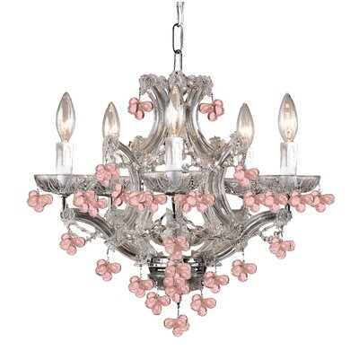 Mailloux 5-Light Candle-Style Chandelier Finish: Polished Chrome, Crystal Color: Rosa