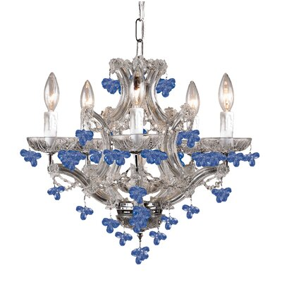 Hot Deal 5-Light Candle-Style Chandelier Finish: Polished Chrome, Crystal Color: Blue