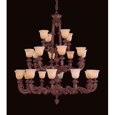 Bravado Alabaster 24-Light Shaded Chandelier Finish: Bronze, Height: 60