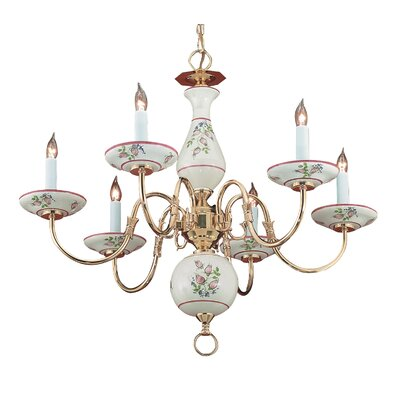 Classic Ceramic 6-Light Candle-Style Chandelier