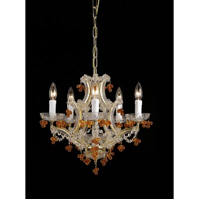Hot Deal 5-Light Candle-Style Chandelier Crystal Color: Amber, Finish: Polished Brass