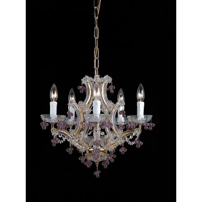 Mailloux 5-Light Candle-Style Chandelier Finish: Polished Brass, Crystal Color: Rosa