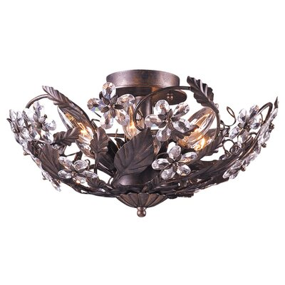 Abbie Floral 6-Light Semi Flush Mount Finish: Dark Rust