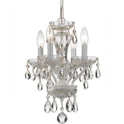 Abhinav Traditional Crystal 4-Light Crystal Chandelier Finish: Wet White