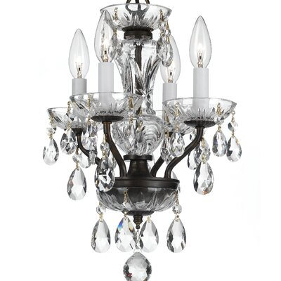Abhinav Traditional Crystal 4-Light Crystal Chandelier Finish: English Bronze
