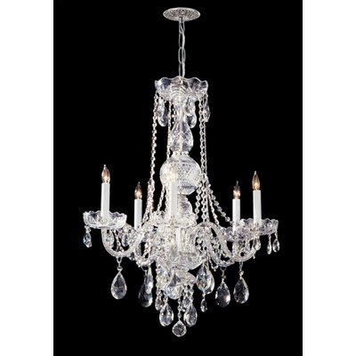 Careen Traditonal 5-Light Glass Crystal Chandelier Crystal Type: Swarovski Strass, Finish: Polished Chrome