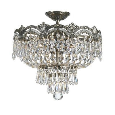 Rupelmonde 3-Light Semi Flush Mount Crystal Grade: Majestic Wood Polish