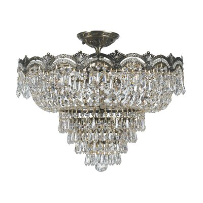 Rupelmonde 5-Light Semi Flush Mount Crystal Grade: Majestic Wood Polish