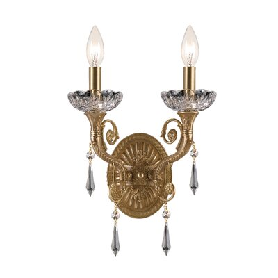 Crystorama Traditional Classic Candle Wall Sconce in Aged Brass ...