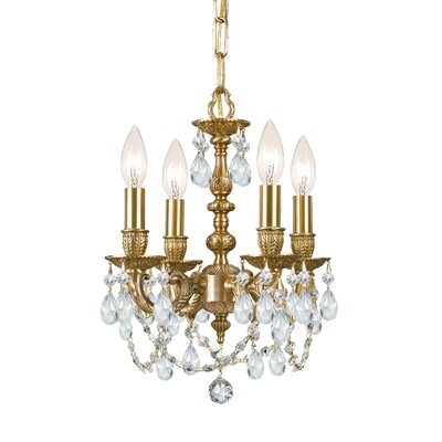 Mirabella 4-Light Candle-Style Chandelier Crystal: Majestic Wood Polish