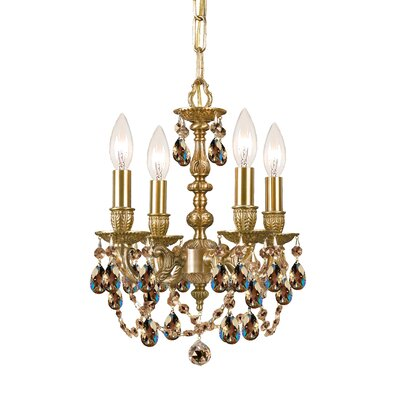 Mirabella 4-Light Candle-Style Chandelier Crystal: Golden Teak Majestic Wood Polish