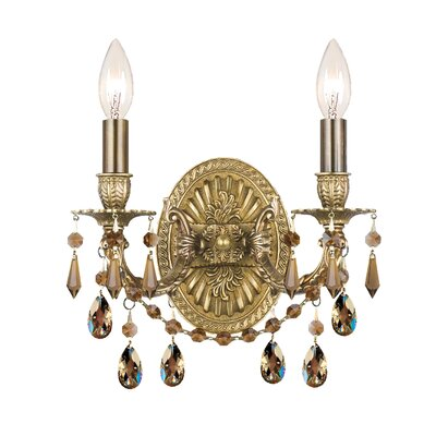 Crystorama Gramercy Crystal Candle Wall Sconce in Aged Brass with ...