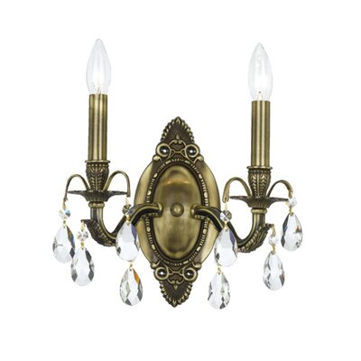 Crystorama Hampton One Light Wall Sconce in Antique Brass | Wayfair