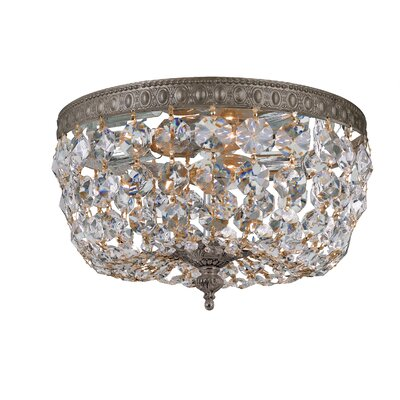 Crystal Basket 2-Light Flush Mount Crystal Grade: Majestic Wood Polish