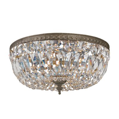 Crystal Basket 3-Light Flush Mount Crystal Grade: Majestic Wood Polish