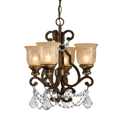 Tusten 4-Light Semi Flush Mount Crystal Grade: Clear Majestic Wood Polished