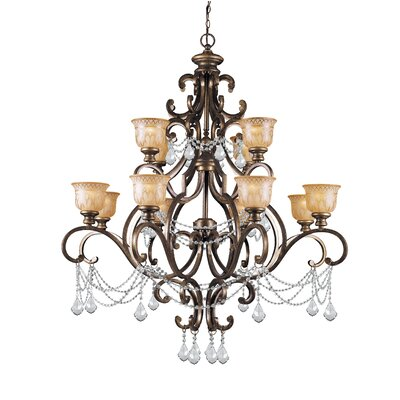 Tusten 12-Light Crystal Chandelier Crystal Type: Clear Majestic Wood Polished