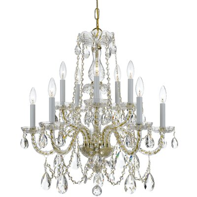 Bohemian 10 Light Crystal Chandelier Crystal Type/Finish: Swarovski Strass/Polished Brass