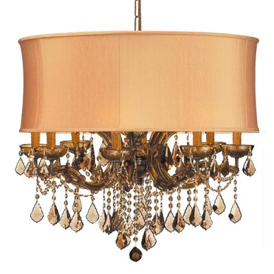 Corrinne Modern 12-Light Drum Chandelier Lamp Shade Color: Harvest Gold, Finish: Antique Brass