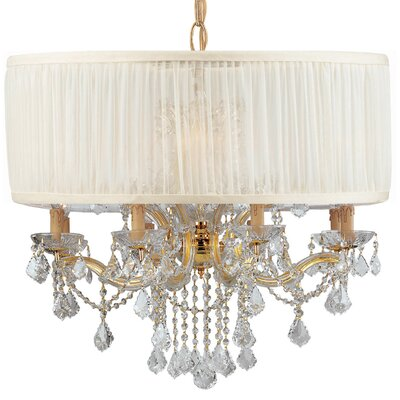 Brentwood 12-Light Drum Chandelier Lamp Shade Color: Antique White, Finish: Gold