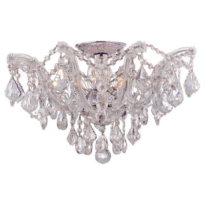 Griffiths 5-Light Semi Flush Mount Finish: Polished Chrome, Crystal Type: Hand Polished
