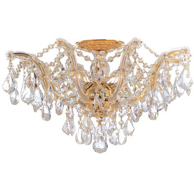 Griffiths 5-Light Semi Flush Mount Finish: Polished Gold, Crystal Type: Hand Polished