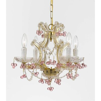 Griffiths 4-Light Crystal Chandelier Crystal Type: Hand Polished, Finish: Gold