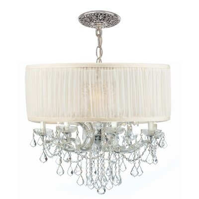 Brentwood 12-Light Drum Chandelier Lamp Shade Color: Antique White, Finish: Chrome