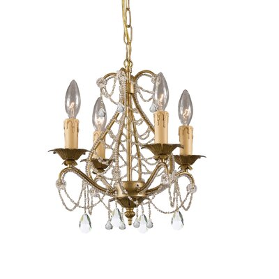 Abigail 4-Light Candle-Style Chandelier Finish: Gold Leaf