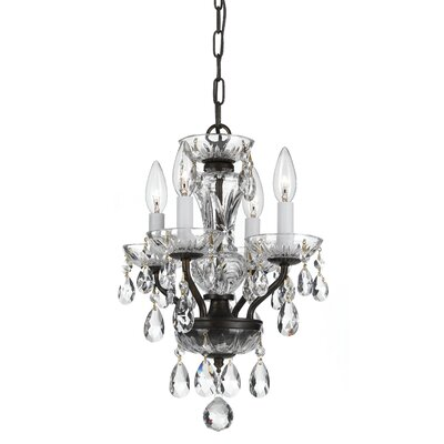 Weigel 4-Light Mini Chandelier Finish: Bronze, Crystal Grade: Swarovski Strass