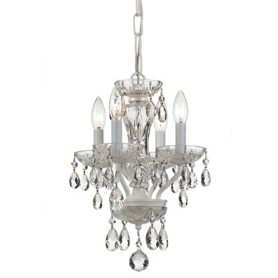 Weigel 4-Light Mini Chandelier Finish: White, Crystal Grade: Swarovski Spectra