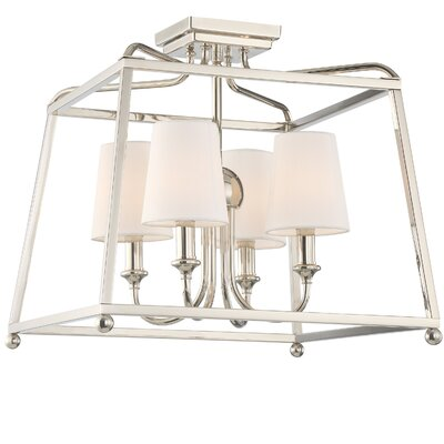 Knighton 4-Light Flush Mount Fixture Finish: Polished Nickel
