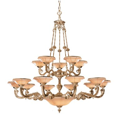 Bravado Alabaster 15-Light Shaded Chandelier Finish: French White