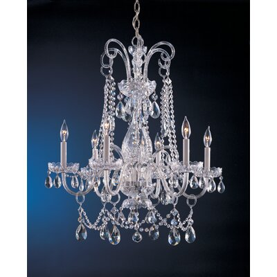 Waterfall 6-Light Crystal Chandelier Finish: Polished Chrome, Crystal: Hand Polished