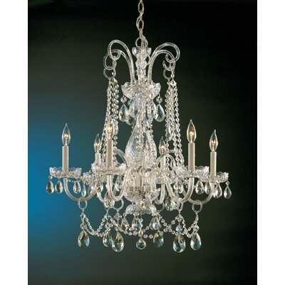 Waterfall 6-Light Crystal Chandelier Finish: Polished Brass, Crystal: Hand Polished