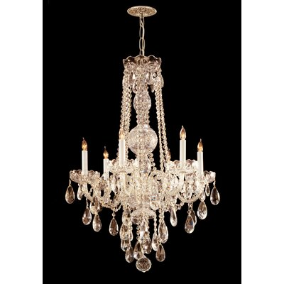 Careen 6-Light Crystal Chandelier Crystal Type: Hand Polished, Finish: Polished Brass