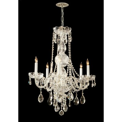 Careen Traditonal 5-Light Glass Crystal Chandelier Crystal Type: Swarovski Strass, Finish: Polished Brass