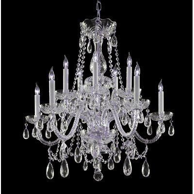 Bohemian 10 Light Crystal Chandelier Crystal Type/Finish: Swarovski Strass/Chrome