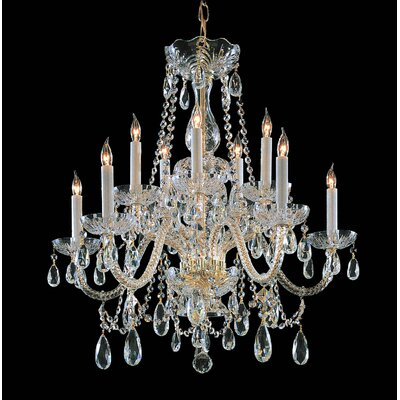 Bohemian 10 Light Crystal Chandelier Crystal Type/Finish: Majestic Wood Polished/Polished Brass