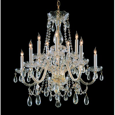 Bohemian 10 Light Crystal Chandelier Crystal Type/Finish: Swarovski Spectra/Polished Brass