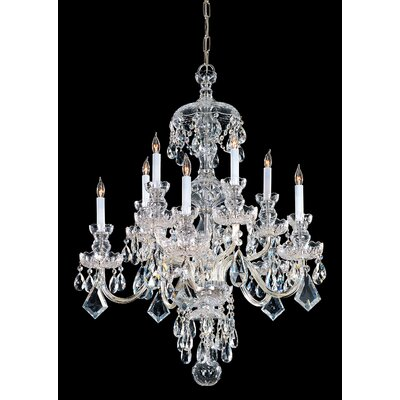 Bohemian 10 Light Candle Chandelier Crystal Type: Swarovski Strass, Finish: Polished Brass