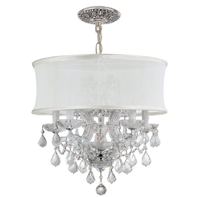Corrinne Traditional 6-Light Glass Drum Chandelier Finish: Polished Chrome, Crystal Type: Majestic Wood Polished