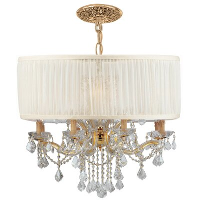 Brentwood 12-Light Drum Chandelier Crystal Type / Shade: Clear Swarovski Spectra  / Antique White