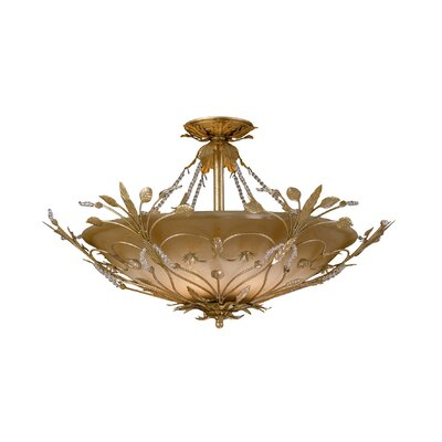 Shadwell 6-Light Swarovski Spectra Crystal 6-Light Semi Fl Finish: Gold Leaf