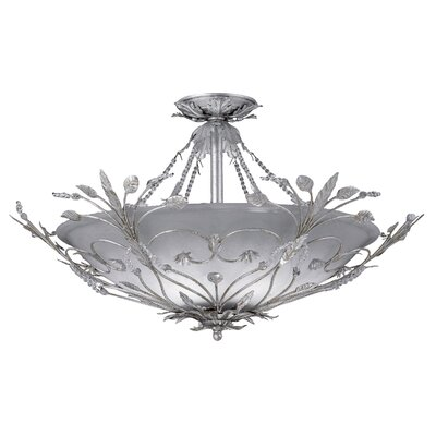 Primrose 6-Light Swarovski Spectra Crystal 6-Light Semi Fl Finish: Silver Leaf
