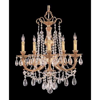 Olde World 5-Light Crystal Chandelier Crystal: Clear Majestic Wood Polished