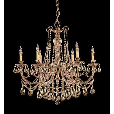 Olde World 6-Light Crystal Chandelier Crystal: Golden Teak Strass