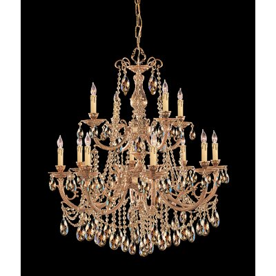 Olde World 12-Light Crystal Chandelier Crystal: Golden Teak Majestic Wood Polished