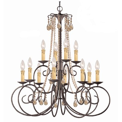 Soho 12-Light Crystal Chandelier Crystal: Golden Teak Majestic Wood Polish