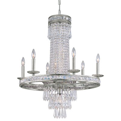 Crystorama 5266-OS-CL-MWP Mercer 6 Light Chandelier in Olde Silver 368189